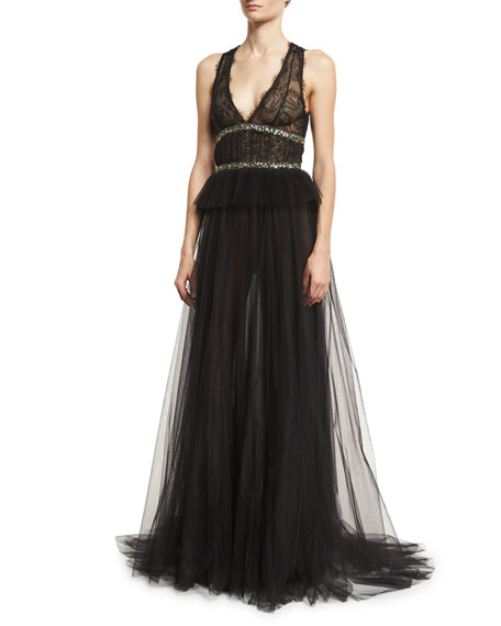 Sleeveless V-Neck Tulle Peplum Gown, Noir