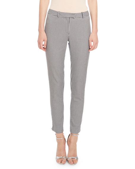 Altuzarra Henri Gingham Skinny Pants, Black/White