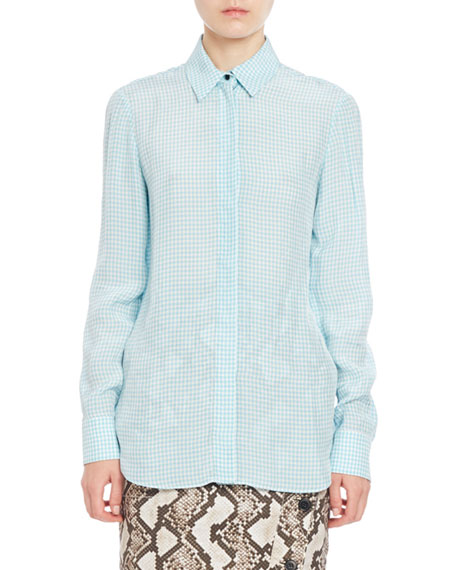 Altuzarra Chika Gingham Long-Sleeve Blouse, Aquafish
