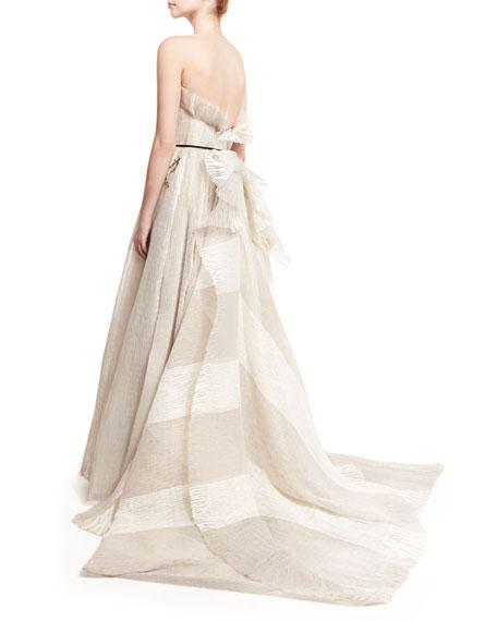 Seersucker Organza Strapless Gown, Silk White