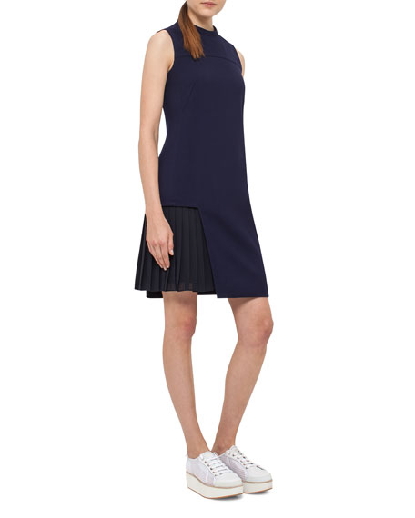 Pleated-Inset Sleeveless Mini Dress, Slate