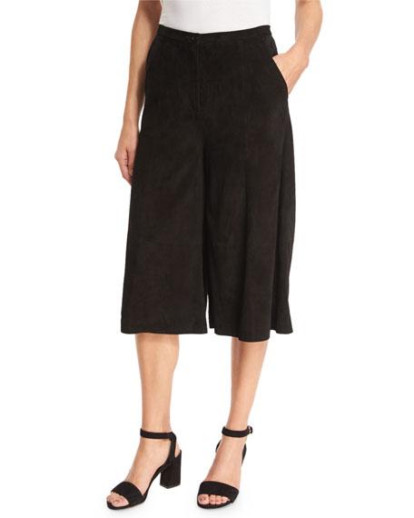 Neiman Marcus Suede Culotte Pants, Black
