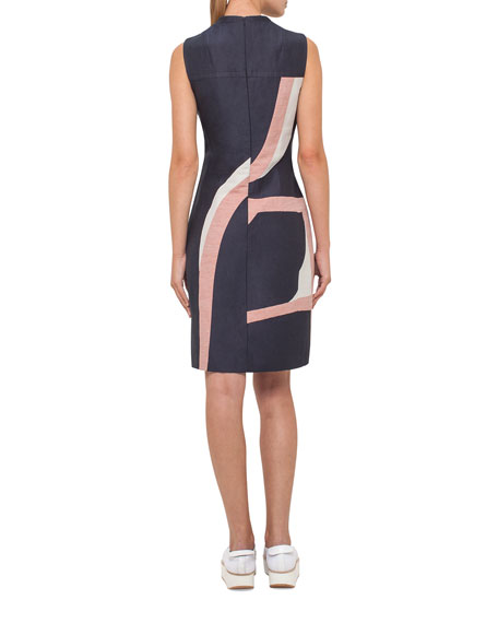 Printed Denim Sleeveless Dress, Dark Blue