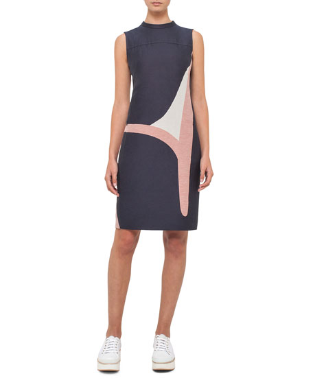 Akris punto Printed Denim Sleeveless Dress, Dark Blue