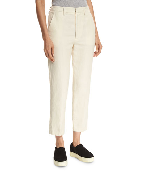 Vince Cropped Carrot Flat-Front Chino Trousers, Tan