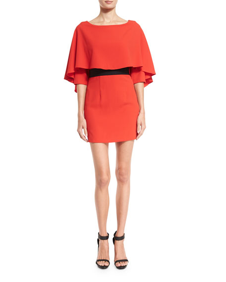 Alice + Olivia Cairo 3/4-Sleeve Cape Popover Dress