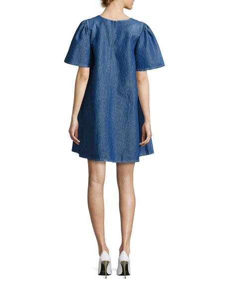 Denim Short-Sleeve Swing Tunic Dress, Blue