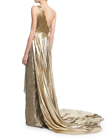 One-Shoulder Grecian Gown w/ Floral Appliqué, Gold