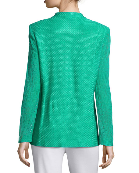 Lace-Sleeve Knit Jacket, Green, Petite