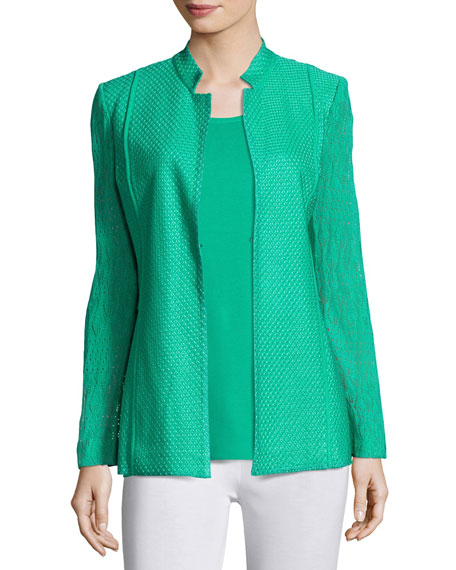 Misook Lace-Sleeve Knit Jacket, Green, Petite
