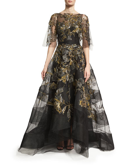 Sleeveless Hand-Embroidered Illusion Gown & Capelet, Black/Metallic
