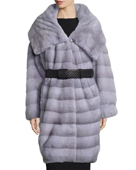 Belted Mink-Fur Stroller Coat