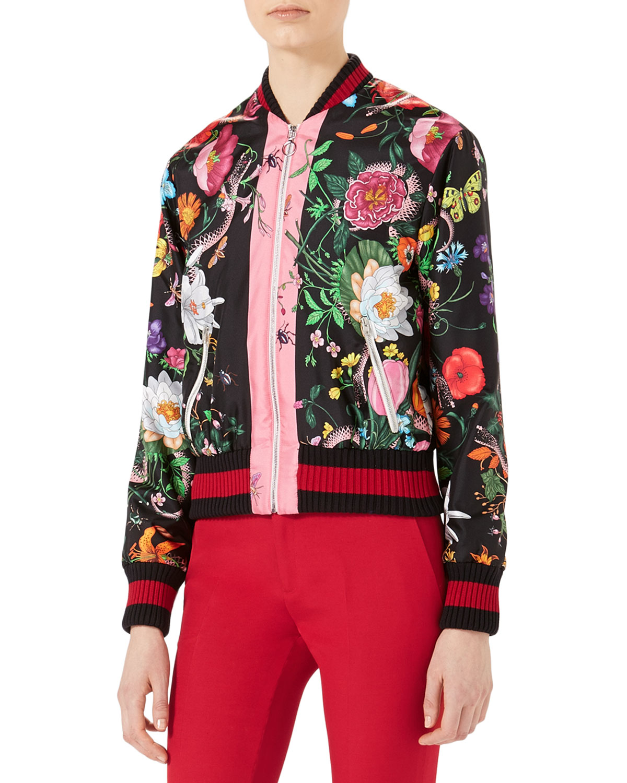 dddfd87e862 Gucci Flora Snake-Print Silk Bomber Jacket, Multicolor | Neiman Marcus