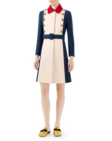 Gucci Wool A-Line Coat, Ivory