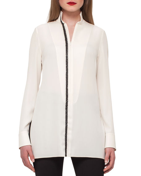 Akris Silk Tunic w/ Braided-Leather Trim
