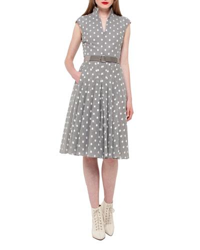 Cotton Voile Mock-Neck Dress, Silvercharm