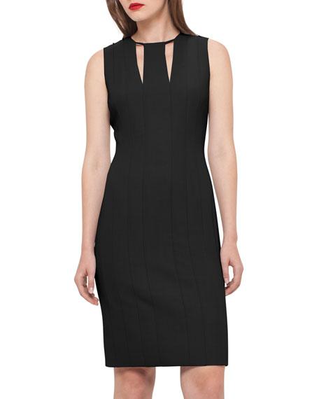 Sleeveless V-Keyhole Sheath Dress, Black/Moonstone