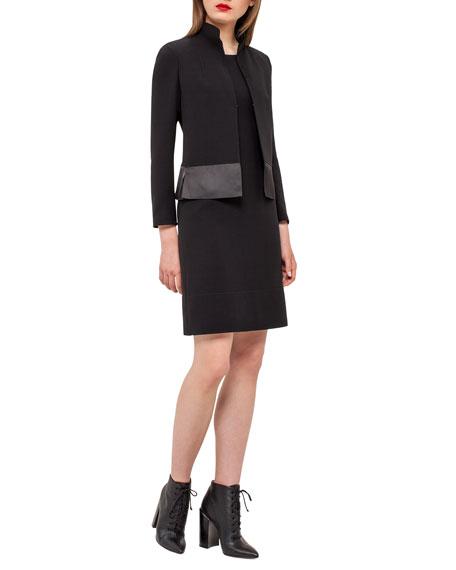 Akris Ilke Organza-Hem Long-Sleeve Jacket, Black