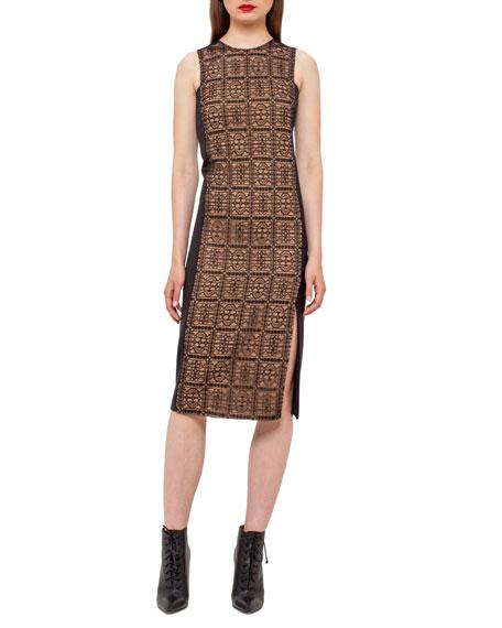 Lace-Front Sleeveless Sheath Dress, Black