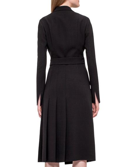 Wrap Dress w/Pleated Back, Black