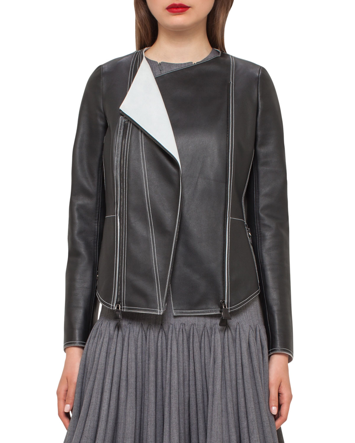 Akris Tailored Leather Jacket Discount With Paypal Get Authentic Online Perfect Cheap Online NGNJihcLc