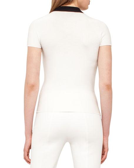 Bicolor Zip-Front Polo Shirt, Moonstone/Black Onsale
