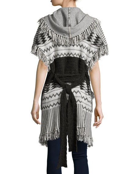 Marrakech Belted Cape W/Fringe, Ivory/Multi