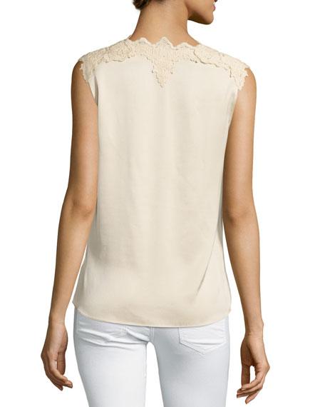 Lana Lace-Trim Stretch-Silk Blouse, Cream