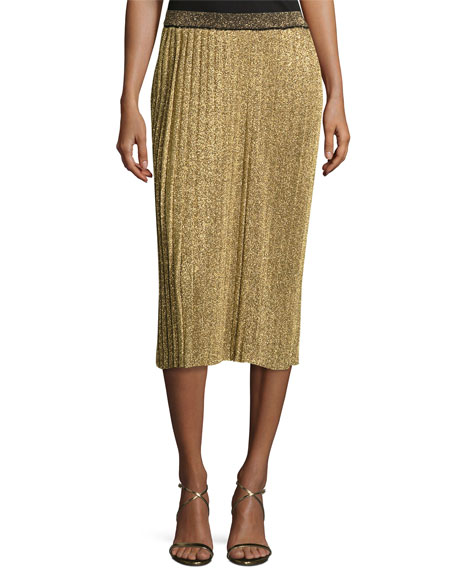 Phaedra Pleated Lurex Midi Skirt, Gold