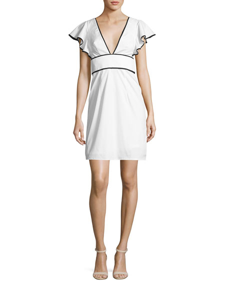 Milly Deni Flutter-Sleeve Poplin Minidress, White