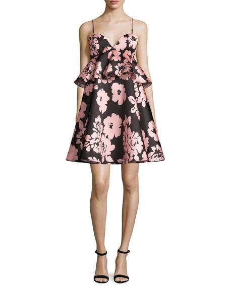 Milly Melody Floral-Print Peplum-Waist Babydoll Dress, Light Pink
