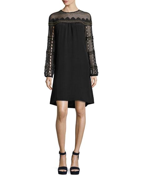 Kobi Halperin Paidyn Embellished Lace-Yoke Silk Dress, Black