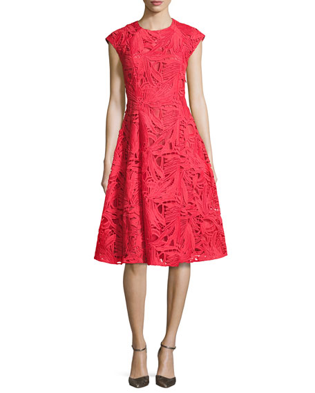 Cap-Sleeve Lace A-Line Dress, Coral