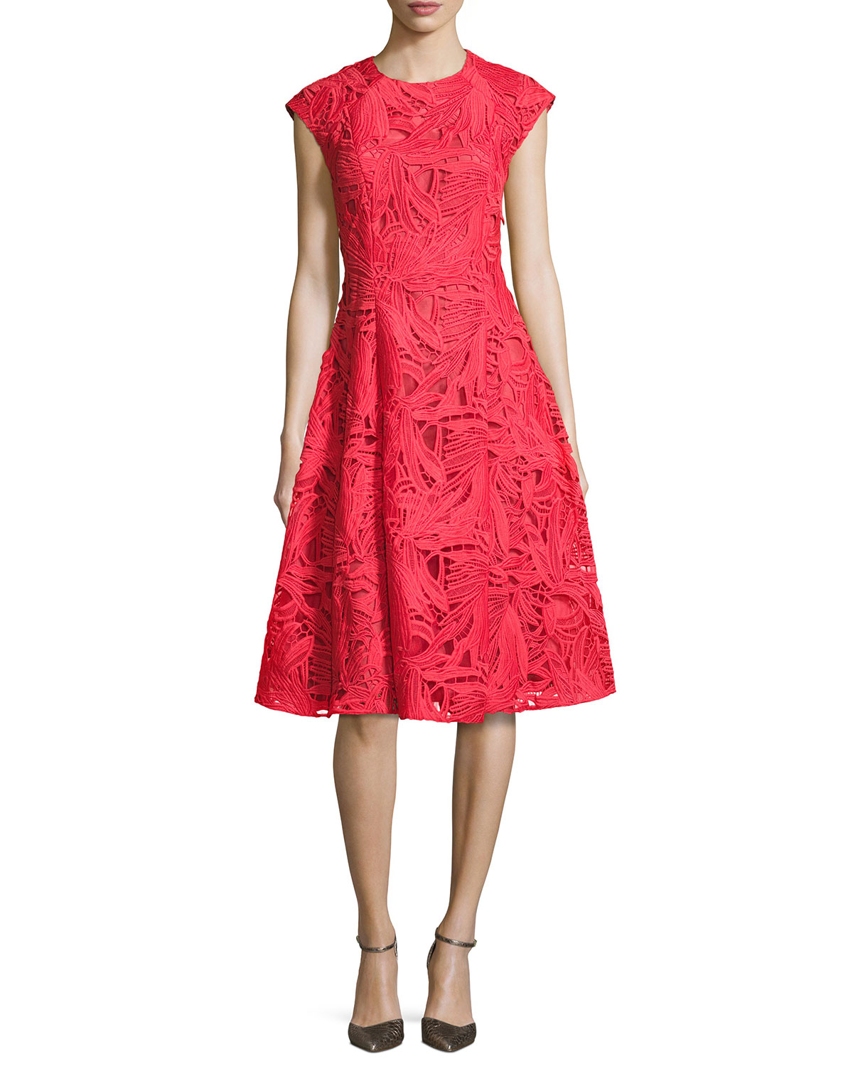 9becb9819c59 Sachin & Babi Cap-Sleeve Lace A-Line Dress, Coral | Neiman Marcus