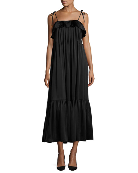 Co Pintucked Tie-Strap Midi Dress, Black