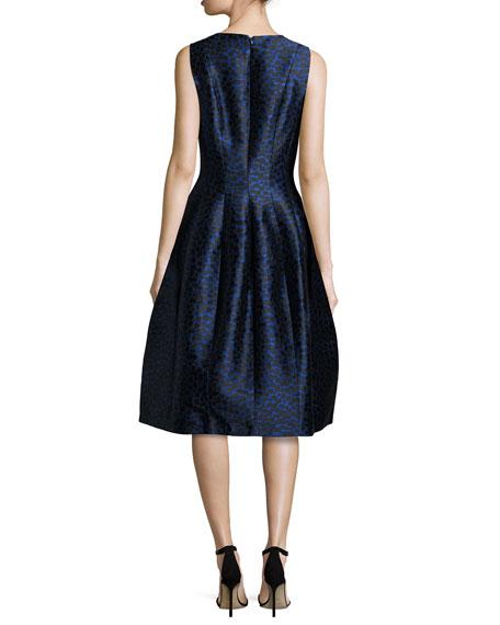 Dotted Jacquard Midi Bell Dress