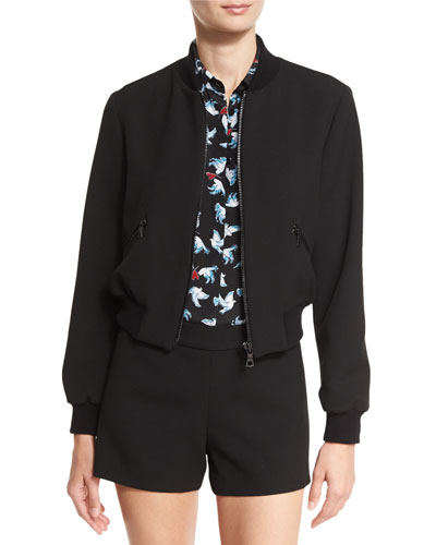 Lonnie Cropped Bomber Jacket, Black