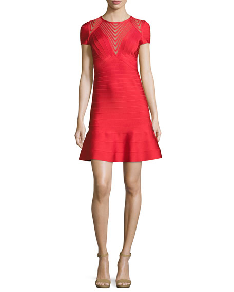 Short-Sleeve Chevron-Illusion Bandage Dress, Red