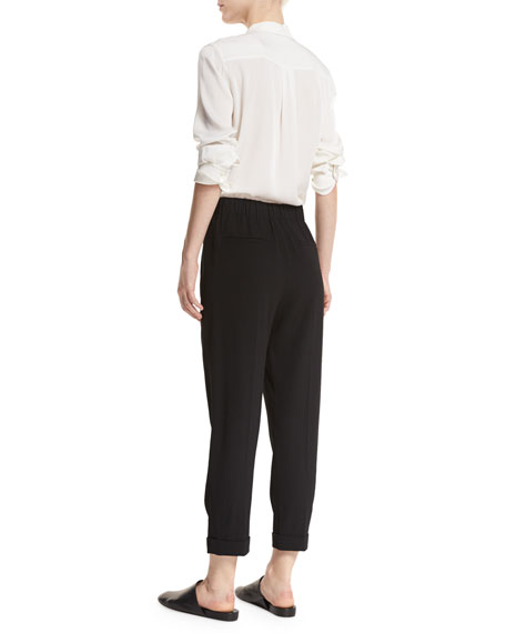 Pull-On Tapered Cropped Trousers
