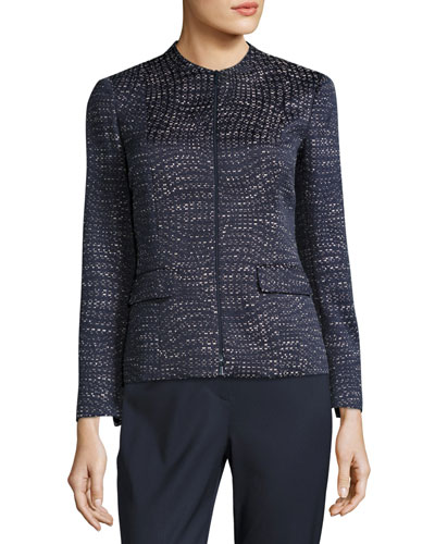 Jaylan Seacliff Novelty Zip-Front Jacket, Multi Pattern