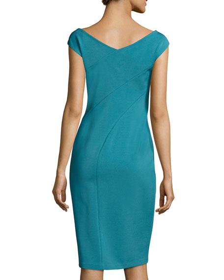V-Neck Jersey Sheath Dress, Turquoise