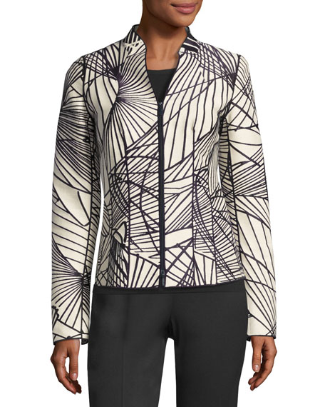 Lafayette 148 New York Linette Zip-Front Spiral-Print Jacquard