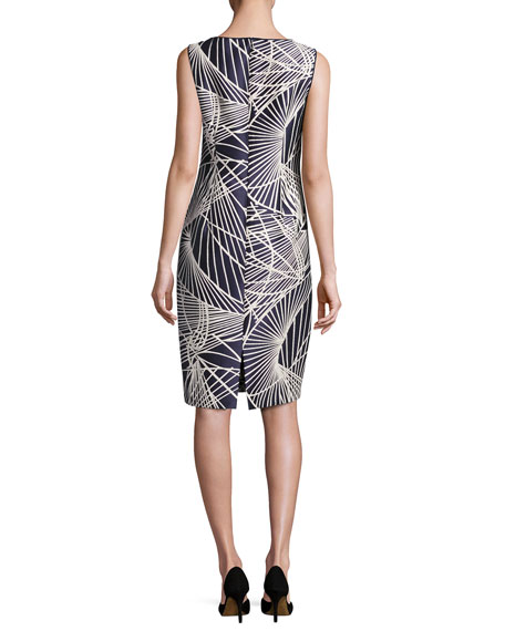 Faith Sleeveless Floral-Print Jacquard Sheath Dress, Multi