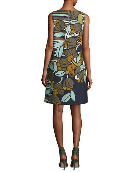 Sleeveless Floral-Print Cloqué Shift Dress, Multi