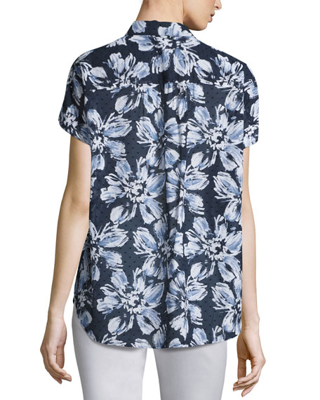 Image 3 of 3: Irina Short-Sleeve Floral-Print Blouse, Multi