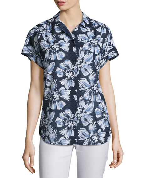 Lafayette 148 New York Irina Short-Sleeve Floral-Print Blouse,