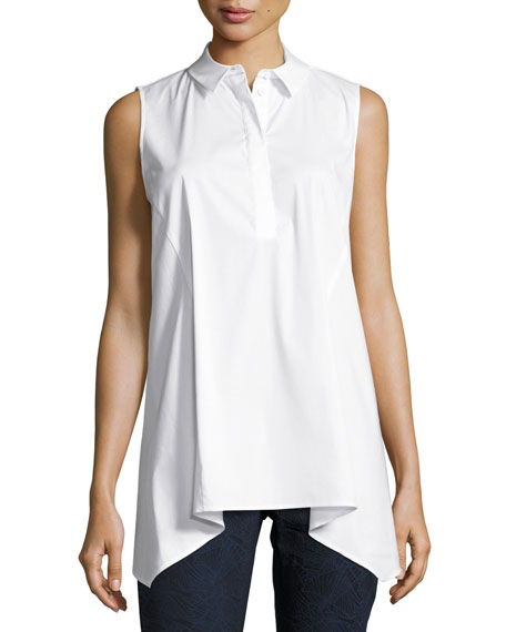Lafayette 148 New York Hollyn Sleeveless Sharkbite-Hem Blouse,