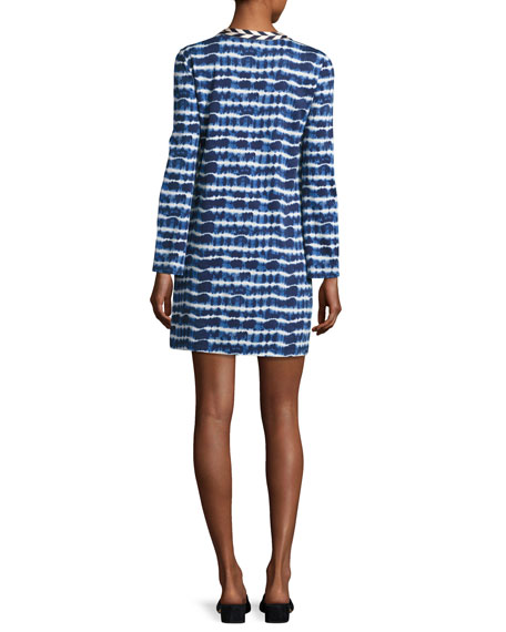 Hollie Long-Sleeve Tie-Dye Tee Dress, Blue/White