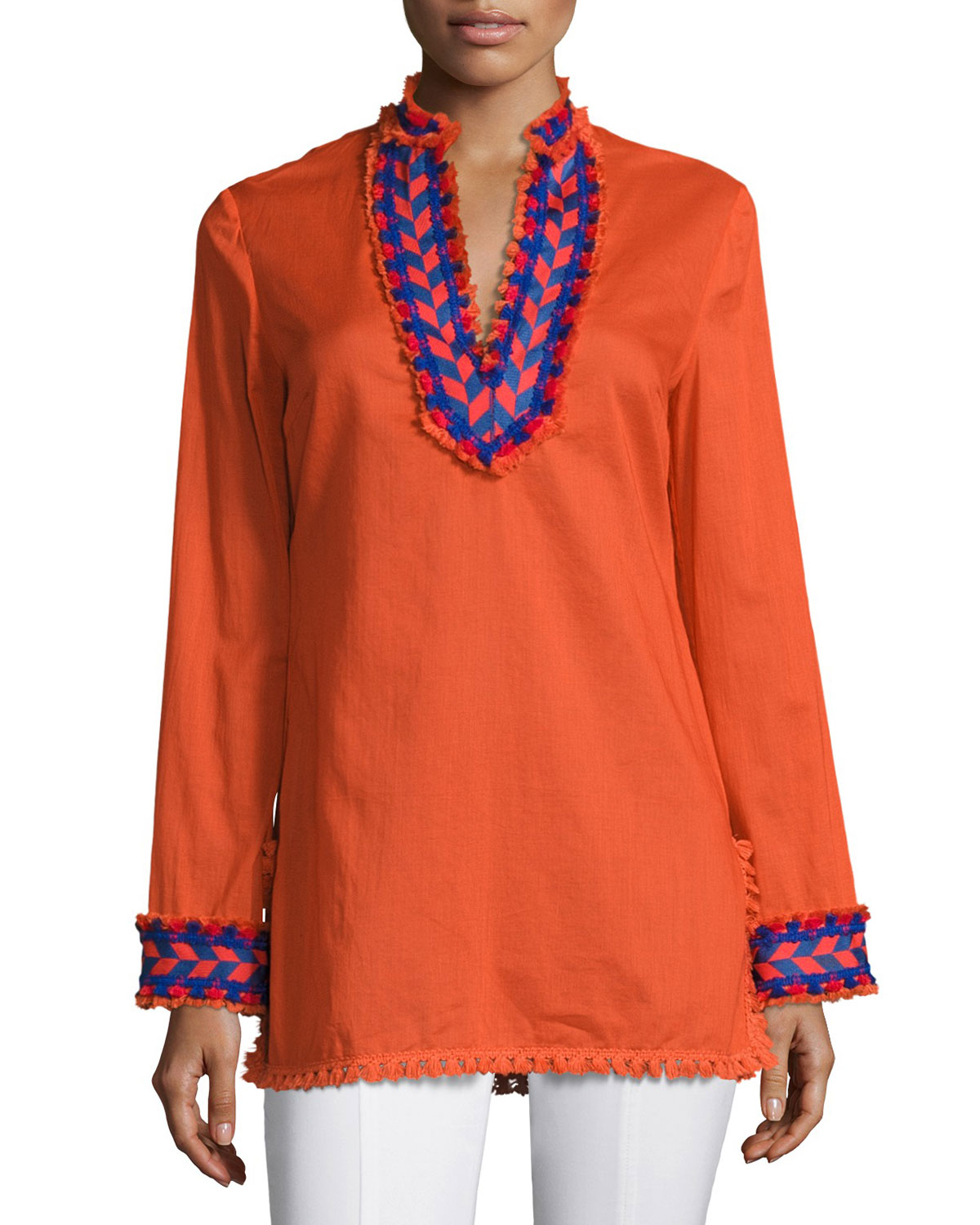 9513819d64a4 Tory Burch Samba Fringe-Trim Cotton Tunic Top