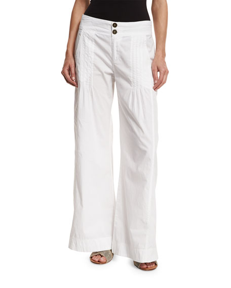 Pleated Stretch-Poplin Wide-Leg Pants, White